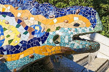 Mosaic dragon, salamader, lizard by Antoni Gaudi, Parc Guell, UNESCO World Heritage Site, Barcelona, Catalonia (Catalunya), Spain, Europe