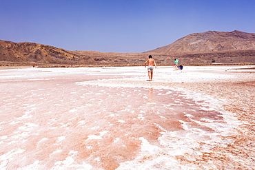 Tourists visting the disused salt pans at Pedra De Lume, Pedra di Lumi, Sal Island, Cape Verde, Atlantic, Africa