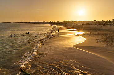 Sunset at the beach in Santa Maria, Praia de Santa Maria, Baia de Santa Maria, Sal Island, Cape Verde, Atlantic, Africa