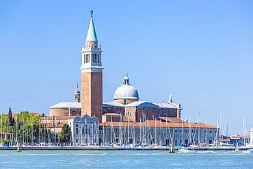 Campanile tower and Church of San Giorgio Maggiore by Palladio, island of San Giorgio Maggiore, Venice, UNESCO World Heritage Site, Veneto, Italy, Europe