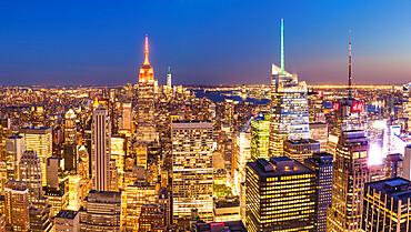 Manhattan skyline, New York Skyline, Empire State Building, panorama, at night, New York City, United States, North America, USA