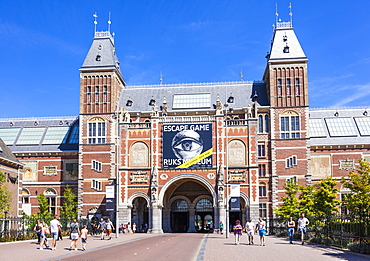 Entrance arch to the Rijksmuseum, Dutch Art gallery and museum, Amsterdam, North Holland, Netherlands, Europe