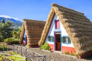 Traditional triangular thatched A-framed Palheiro Houses, Santana, Madeira, Portugal, Atlantic, Europe