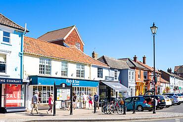 Aldeburgh Suffolk Aldeburgh High street with people browsing through small shops Aldeburgh Suffolk England UK GB Europe