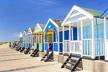 Brightly painted beach huts, Southwold Beach, North Parade, Southwold, Suffolk, East Anglia, England, United Kingdom, Europe