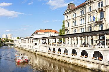 Plecnik's Arcades, arches of the central covered Market by the Ljubljanica River, Ljubljana, Slovenia, Europe