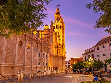 Seville Cathedral of Saint Mary of the See, and La Giralda bell tower at sunset, UNESCO World Heritage Site, Seville, Andalusia, Spain, Europe