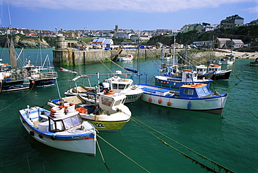 Fishing boats in harbour, Newquay, Cornwall, England, United Kingdom, Europe