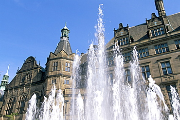Town Hall and Peace Garden fountains, Sheffield, South Yorkshire, England, United Kingdom, Europe