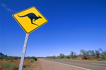 Kangaroo road sign, Flinders Range, South Australia, Australia, Pacific