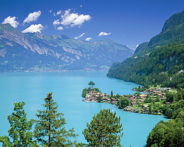 View over Lake Brienz to Iseltwald, Switzerland, Europe