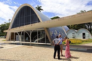 Sao Francisco de Assis church built in 1943 by architect Oscar Niemeyer, with mural by Candido Portinari, beside Pampulha Lake, Belo Horizonte, Minas Gerais, Brazil, South America