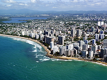 Aerial view of San Juan, Puerto Rico, West Indies, Caribbean, Central America