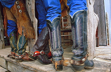 Close-up of cowboy boots with spurs, Fort Worth
