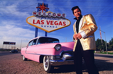 Elvis look-a-like and pink Cadillac, Las Vegas