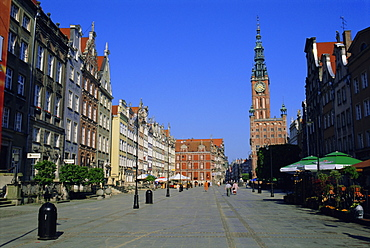 Long Market Square and Town Hall, old town, Gdansk, Poland