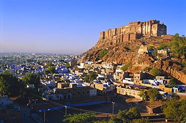 Meherangarh Fort on hill above Jodhpur, Rajasthan, India