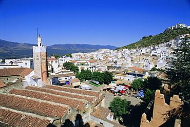 View over Chefchaouen (Chaouen) (Chechaouen), Rif Region, Morocco, Africa