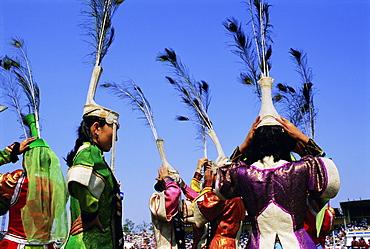 People in costumes at the Naadam Festival, Ulaan Baatar (Ulan Bator), Mongolia, Asia