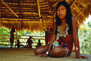 Portrait of an Embera Indian girl, Chagres National Park, Panama, Central America