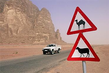 Road signs, Wadi Rum, Jordan, Middle East