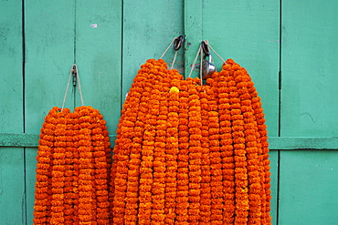 Door, padlock and flower garlands, Kolkata (Calcutta), West Bengal, India, Asia
