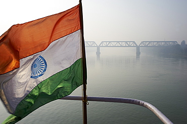 Indian flag on sukapha boat on the Hooghly River, part of Ganges River, West Bengal, India, Asia