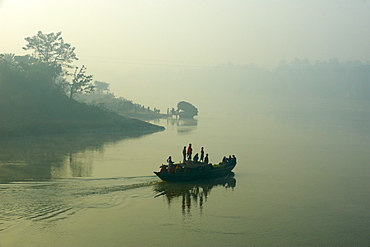Boat on the Hooghly River, part of Ganges River, West Bengal, India, Asia