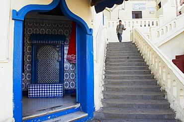 Moktar Ahardan stairs, Medina (Old City), Tangier, Morocco, Door in the Medina (Old City), Tangier (Tanger), Morocco, North Africa, Africa