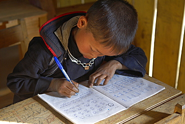 Black Hmong ethnic group boy at school, Sapa area, Vietnam, Indochina, Southeast Asia, Asia