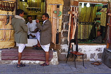 Souk in the Old Town, UNESCO World Heritage Site, Sanaa, Yemen, Middle East