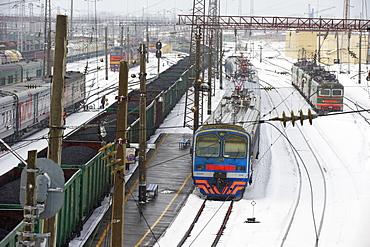 Railway station on the Trans-Siberian line, Balezino, Udmurtia, Russia, Europe