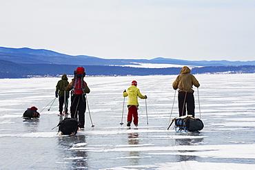 Ice skating, Maloe More (Little Sea), frozen lake during winter, Olkhon island, Lake Baikal, UNESCO World Heritage Site, Irkutsk Oblast, Siberia, Russia, Eurasia