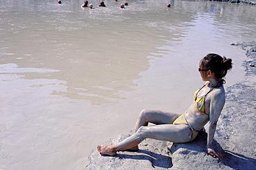 Mud bath at Vulcano island, Eolie Islands, Sicily, Italy, Europe