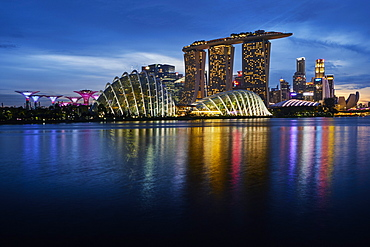 Garden By the Bay, Marina Bay Sands Hotel, the Arts and Sciences Museum, Marina Bay, Singapore, Southeast Asia, Asia