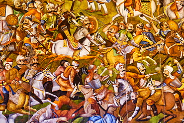The Great Hall (Throne Hall) painting, Chehel Sotun Palace, Isfahan, Iran, Middle East