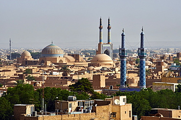 Friday Mosque and cityscape with badgirs (wind towers), Yazd, Yazd Province, Iran, Middle East