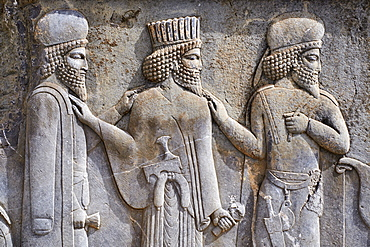 Relief of the warriors, staircases of Apadana, Persepolis, UNESCO World Heritage Site, Fars Province, Iran, Middle East