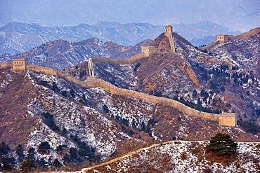 Aerial view of the Jinshanling and Simatai sections of the Great Wall of China, Unesco World Heritage Site, China, East Asia