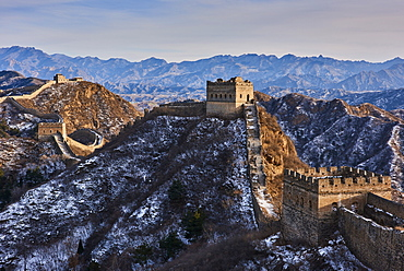 Snow covered Jinshanling and Simatai sections of the Great Wall of China, Unesco World Heritage Site, China, East Asia