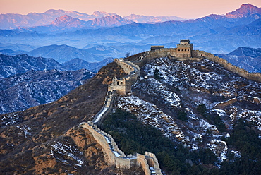 Jinshanling and Simatai sections of the Great Wall of China at sunset, Unesco World Heritage Site, China, East Asia