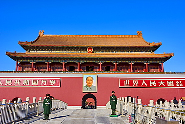 Security guards at the Tiananmen, or the Gate of Heavenly Peace, Forbidden City, Beijing, China, East Asia - 712-2908