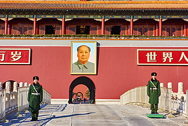Security guards at the Tiananmen, or the Gate of Heavenly Peace, Forbidden City, Beijing, China, East Asia - 712-2909