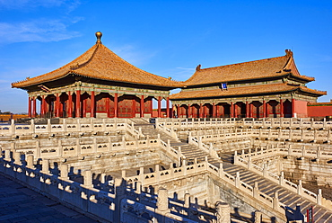 Hall of Preserving Harmony (in the background) with Hall of Central Harmony, Forbidden City, Beijing, China, East Asia - 712-2914