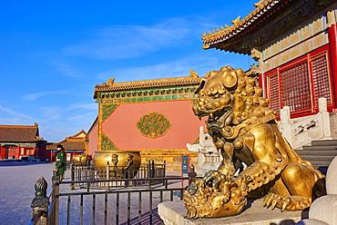 China, Beijing, Forbidden City, statue of Lion - 712-2919