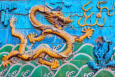 China, Beijing, Forbidden city, nine dragon wall
