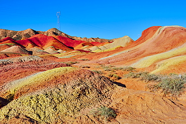 Colorful Danxia landform in Zhangye, UNESCO World Heritage Site, Gansu Province, China, Asia