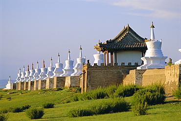 Exterior wall with 108 stupas at Erdene Zuu Monastery, Kharkhorin, Karakorum, Ovorkhangai, Mongolia
