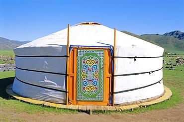 Decorative door on yurt, nomadic settlement, Orkhon Valley, Ovorkhangai, Mongolia, Asia