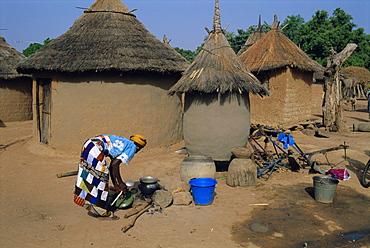 Mud village, huts, Mandi region, Mali, Africa